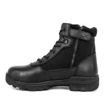 Black police leather tactical boots 4112