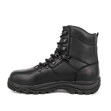Ankle black police combat leather boots 6105