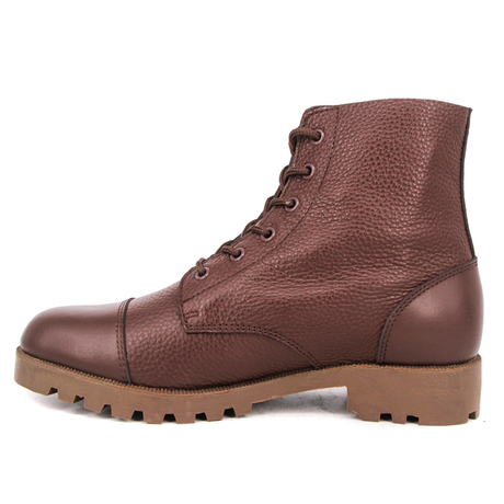 Red brown army grain full leather boots 6107