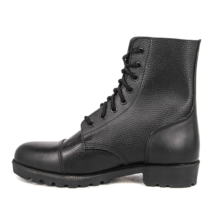 Black men office military leather boots 6120